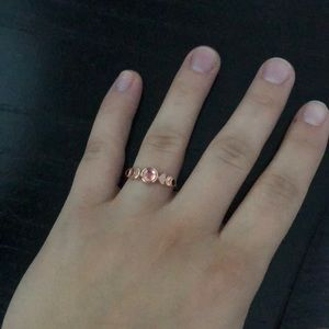 Rose Gold Colored Ring with Moon Stone Center